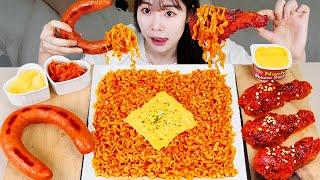 ASMR MUKBANG| 직접 만든 까르보 불닭볶음면 양념치킨 소세지 먹방 & 레시피 FRIED CHICKEN AND FIRE NOODLES EATING