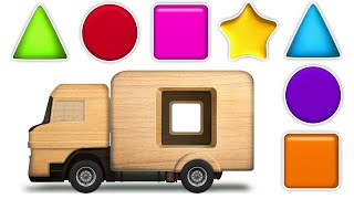 KidsCamp - Learn Shapes With Wooden Toy Truck | Shapes Videos Collection for Kids