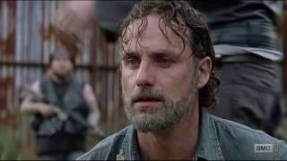 The Walking Dead 7x16 Shiva Saves Carl From Negan - All Out War Begins. Amazing Rick/Negan dialogue