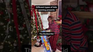 Different types of kids opening presents