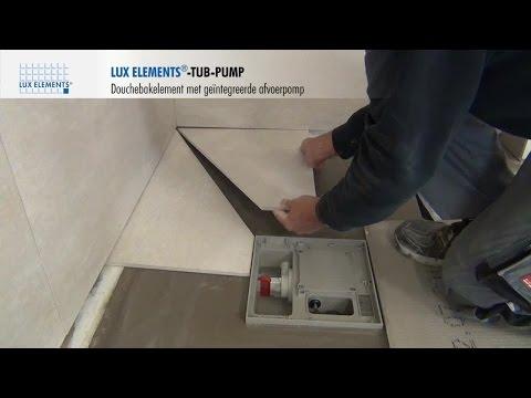 LUX ELEMENTS montage: met de vloer gelijkgewerkte douchebodem TUB-PUMP met geïntegreerde afvoerpomp