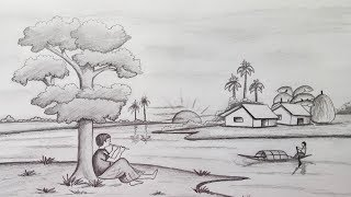Scenery Sketches Landscape Scenery Pencil Sketch Music