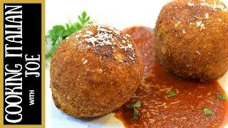 Fried Rice Balls Arancini Cooking Italian with Joe