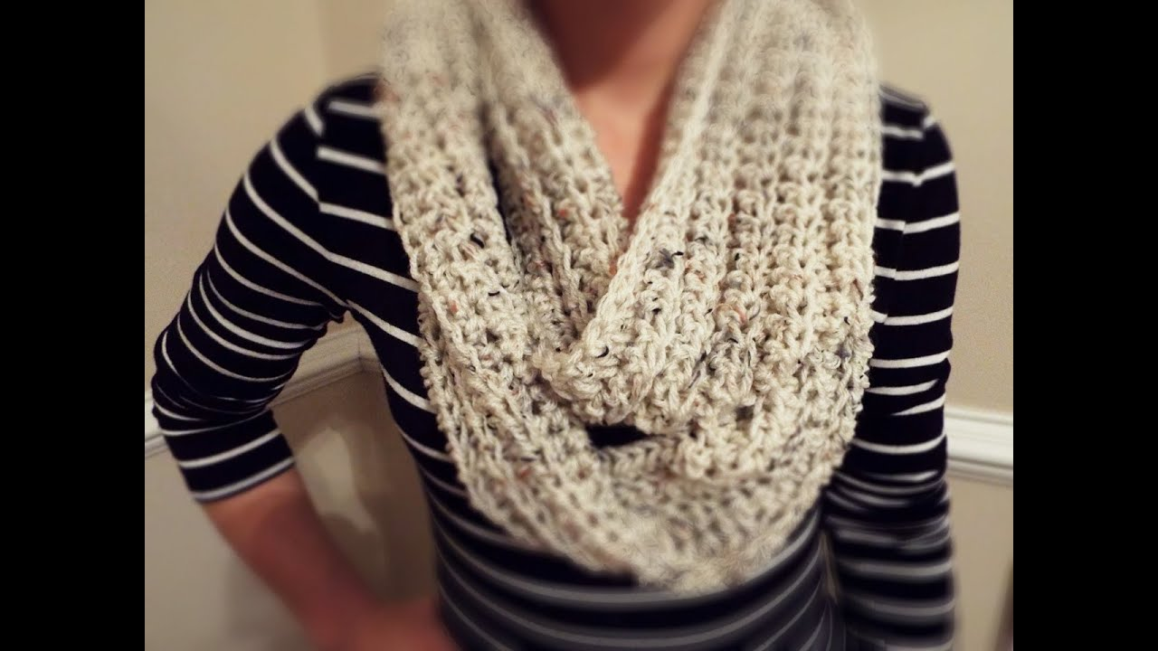 how to crochet ribbed infinity scarf youtube