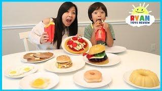 GUMMY FOOD VS REAL FOOD CHALLENGE McDonald's Fries Burgers and Breakfast Food family fun taste test