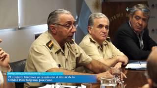 El ministro Martínez se reunió con con el titular de la Unidad Plan Belgrano, José Cano, para presentarle los proyectos en los que pueden contribuir las Fuerzas Armadas