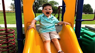 BEST PLAYGROUND PARK EVER! Caleb Plays at The Fun Outdoor Playground and Splash Pad for Kids!