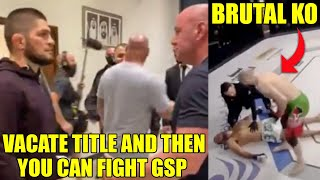 Khabib needs to VACATE title to fight GSP, Former UFC fighter KO'd in Abu Dhabi, Dana White