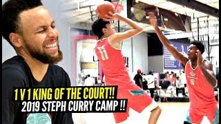 1 v 1 King of The Court STEPH CURRY Camp 2019 Edition!! Steph IMPRESSED By 7 Foot Guards!!!