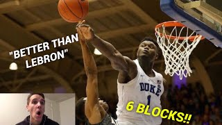 Former D1 Hooper Reacts to ZION WILLIAMSON'S Highlights vs. Army - 27 Pts, 16 Reb, 6 BLOCKS