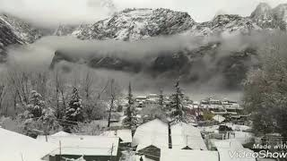 snow fall in joshimath auli uttarakhand.#swarg.....