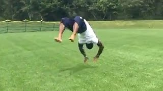 Patriots LB Jamie Collins is a Freak Athlete, Does 8 Backflips in a Row