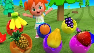 Learning Colors & Fruits for Children with Baby Girl Color Surprise Eggs Fun Play 3D Kids Education
