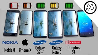 Samsung S9/ S9+ vs iPhone X vs Galaxy Note 8 Battery Life DRAIN TEST
