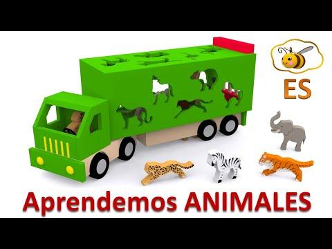 Los animales salvajes para niños. Dibujos animados educativos en español. Learn Spanish