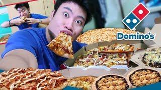 DOMINOS PIZZA MUKBANG!! BACON CHEESEBURGER PIZZA & CHOCO CRISP!