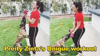 Preity Zinta INTENSE workout with her dog during quarantin..