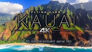 FLYING OVER KAUAI (4K) Hawaii's Garden Island | Ambient Aerial Film + Music for Stress Relief 1.5HR