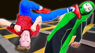 CWC vs HACKERS TRAMPOLINE BATTLE ROYALE to Find Daniel's Last Name! Last to Leave Wins Challenge!