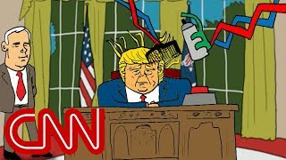 Trump and the red button   Drawn by Jake Tapper