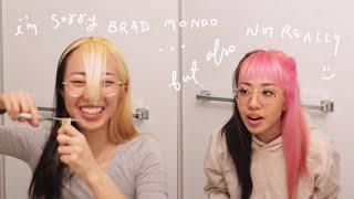 bleaching, cutting bangs & dying my hair pink | black to blonde transformation part 2