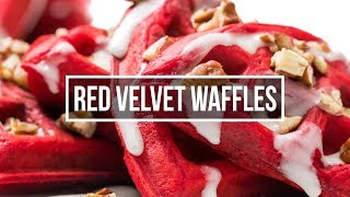 Red-Velvet Waffles with Cream Cheese Glaze