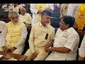 Chandrababu meets opposition leaders  in Parliament
