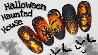 🎃 HALLOWEEN GRAVEYARD | Gel polish design | Nail art tutorial
