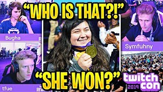 UNKNOWN GIRL *SHOCKS EVERYONE* WINNING TWITCHCON FORTNITE! vs TFUE BUGHA SYMFUHNY & MORE!