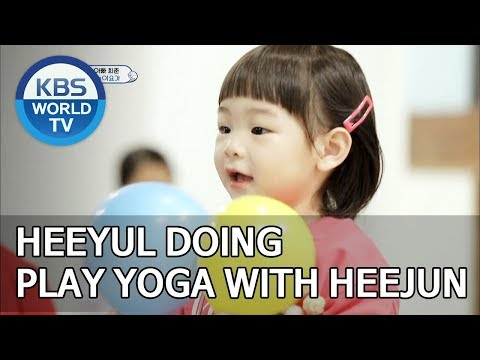 Heeyul doing play yoga with Heejun [The Return of Superman/2019.06.16]