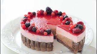 ラズベリーショコラ・シャルロットケーキ Raspberry & Chocolate Charlotte Cake|HidaMari Cooking