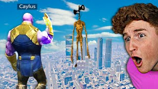 Thanos V.S. MEGA Siren Head In GTA 5.. (Mods)