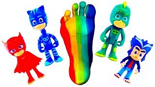 Pj Masks Toys and Learn Colors with Colorful Feet and finger paint - Rainbow color Feet Painting
