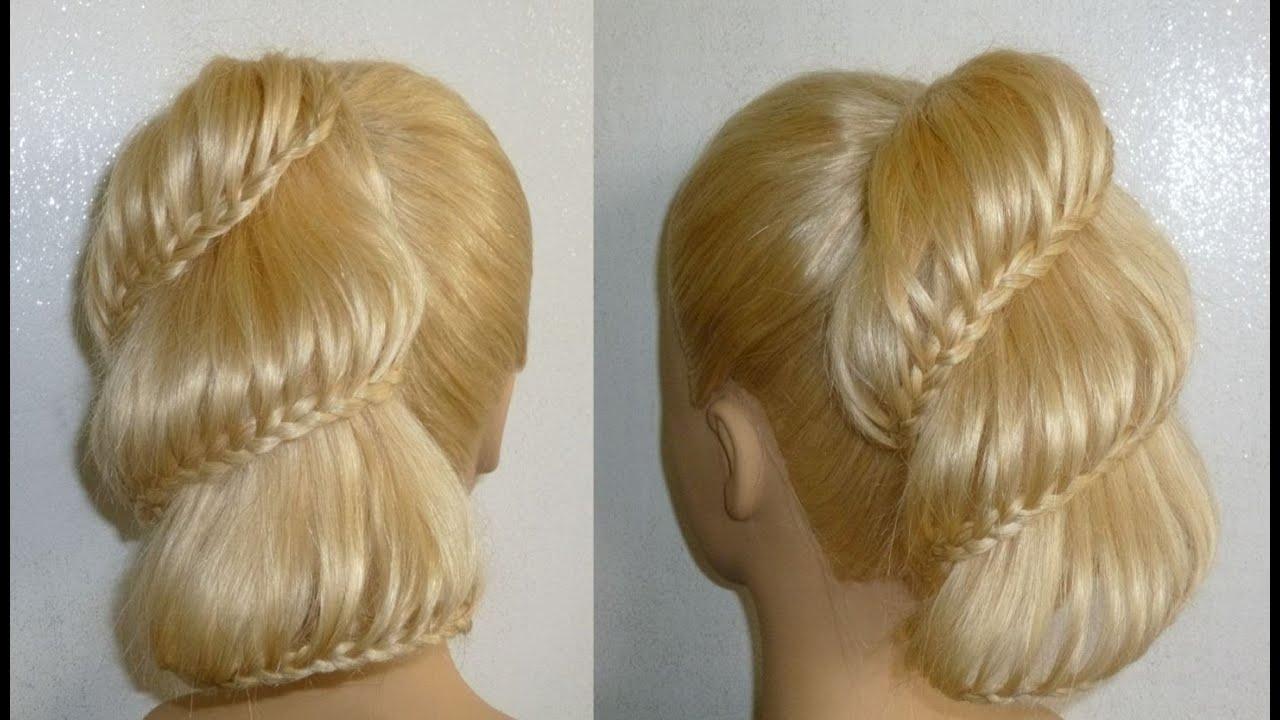 frisuren flechtfrisuren ausgehfrisur abiballfrisur high bun braid updo prom hairstyles peinados. Black Bedroom Furniture Sets. Home Design Ideas