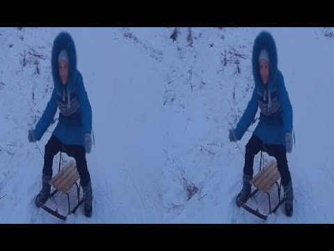 Sledge 3D ! Children on a snowy hill ! 3D VIDEO