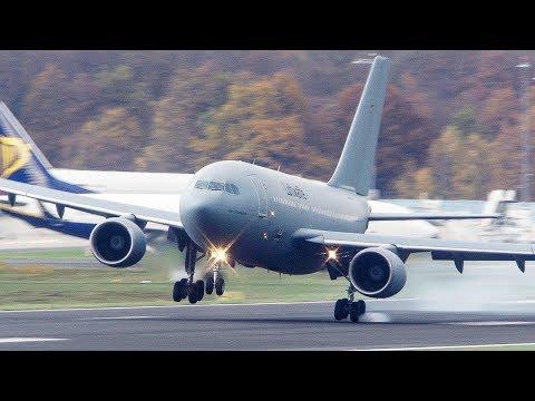 شاهد كيف قفزت طائرة ايرباص الضخمة بسبب الرياح والطيار ينقذ الموقف في آخر لحظة