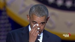 Obama tears up while speaking about wife, daughters during farewell speech