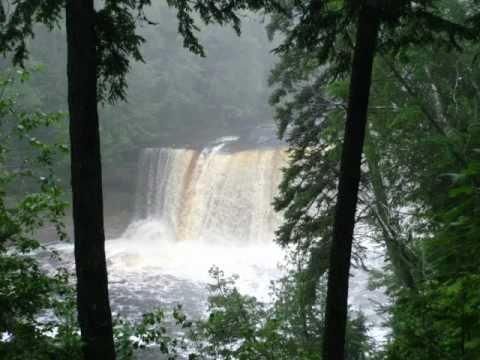 """Photos of Michigan Waterfalls with Original Music Track """"LOOMING KUNDALINI"""" by Austen Brauker"""