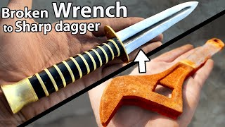 Turning a Broken & Rusty WRENCH into a good looking Dagger - FORGING