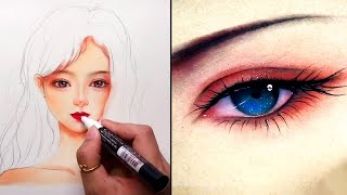 Unbelievable Artists Shows How to Draw Faces. Drawing tricks. Amazing Art tutorial