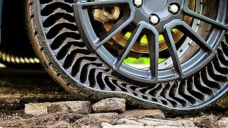Indestructible Tire by Michelin | Demonstration | Airless Wheel Technology