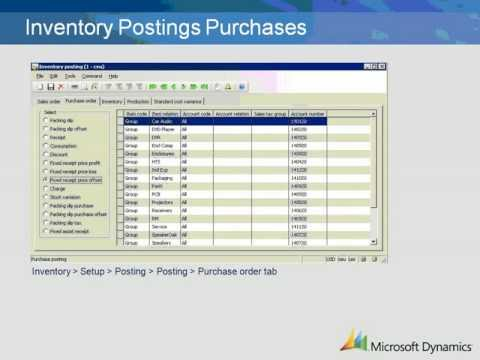 Dynamics AX 2009 Inventory Postings Purchase Setup