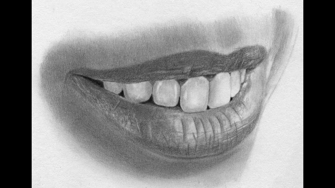 Speed Drawing Realistic Lips and Teeth - YouTube
