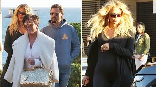 Khloe Kardashian Flaunts MASSIVE Baby Bump In Spandex Jumpsuit While Filming KUWTK