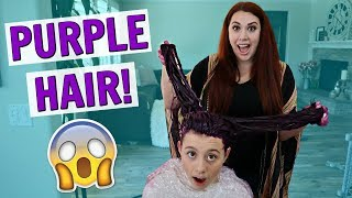 COLORING MY TEEN DAUGHTER'S HAIR AT HOME VLOG! DIY PURPLE HAIR DYE