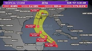 Tracking Tropical Storm Zeta, expected to move into Gulf of Mexico before landfall