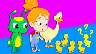 Groovy The Martian - One duck is missing! Five Little Ducks song with farm animals & nursery rhymes