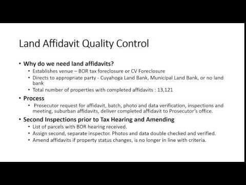 Foreclosure 101   Cuyahoga Land Bank Affidavits Presentation August 2016