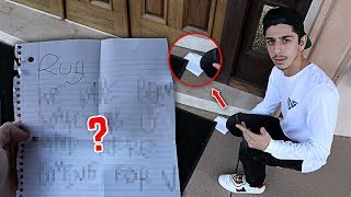 Creepy note left at our front door... (WTF) | FaZe Rug