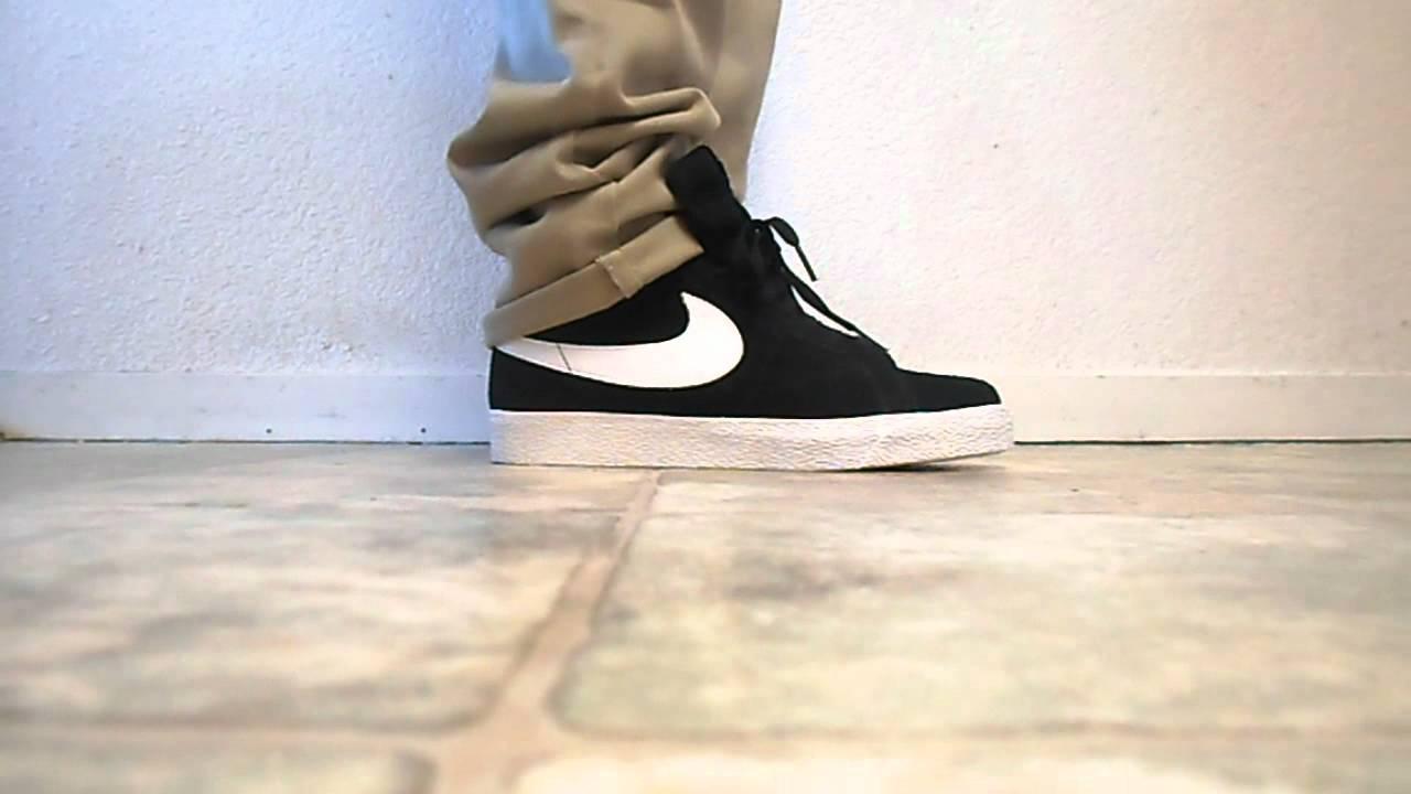 Nike Sb Blazer Black White On Feet Review Youtube